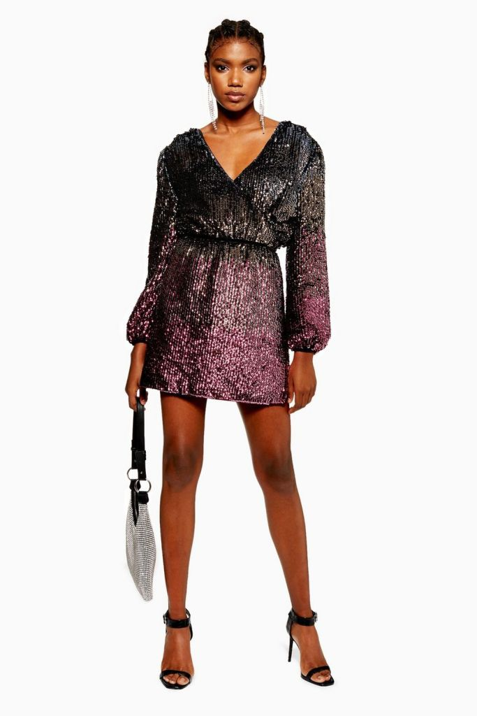 Ombre Sequin Wrap Dress